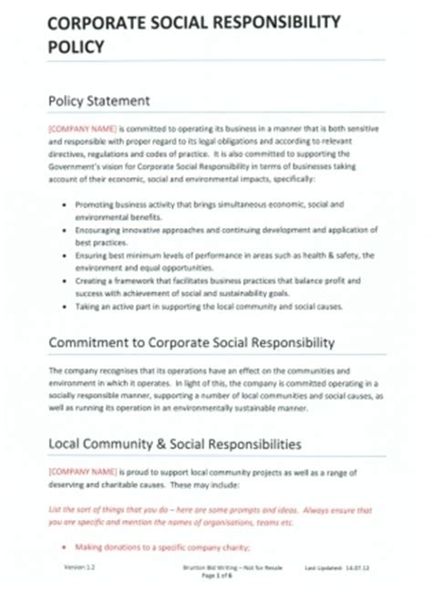 Corporate Responsibility Policy Template templates corporate social responsibility policy