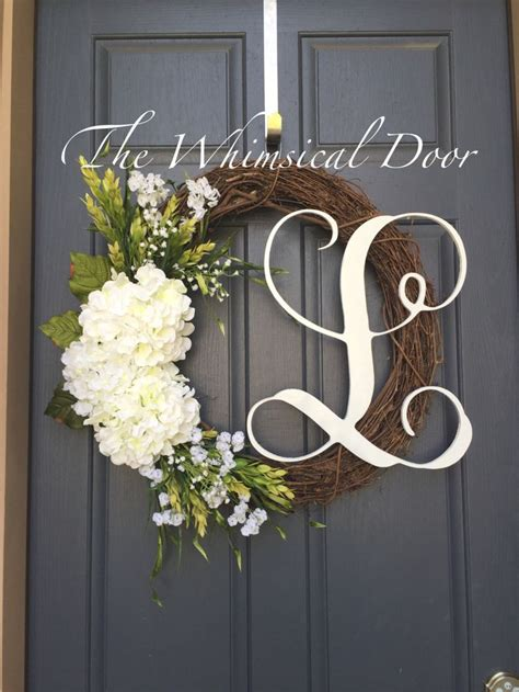 Front Door Monogram Wreath 25 Best Ideas About Hydrangea Wreath On Initial Wreath Door Wreaths And Wreaths