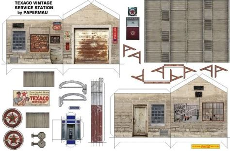 printable diorama templates texaco vintage sevice station paper model diorama by