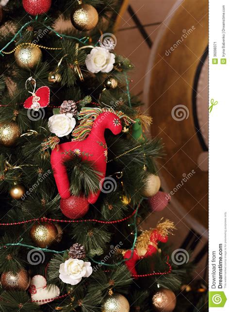 red horse on a new year tree stock image image 36098371