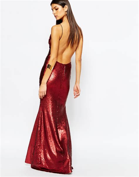 L A Dress lyst club l showstopper open back sequin maxi dress with