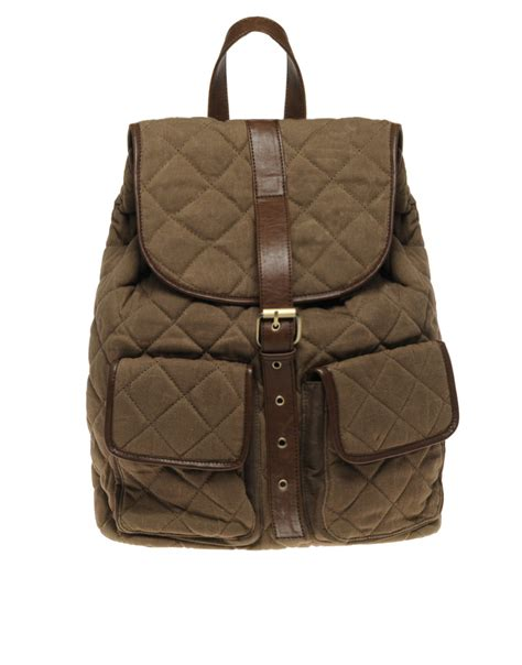 Quilted Backpacks For by River Island Quilted Backpack In Brown For Lyst