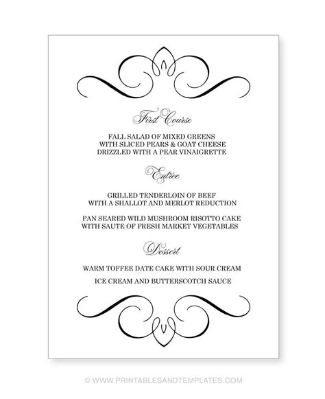 free printable wedding menu templates free printable dinner menu templates website resume