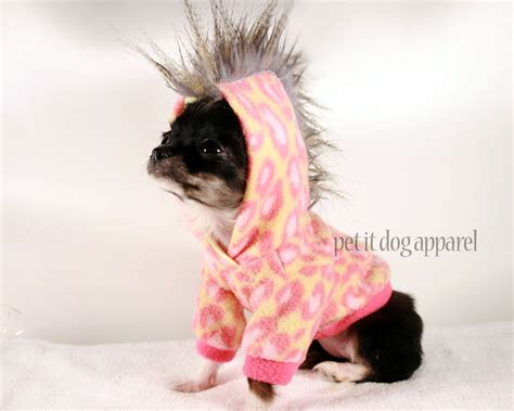 teacup puppy clothes teacup clothes pink leopard mohawk hoodie by petitdogapparel