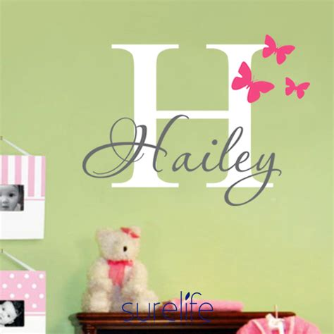 butterflies name personalized princess vinyl wall sticker