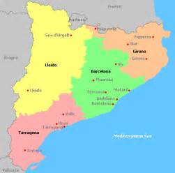 map of catalonia depicting its four provinces wedding