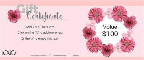 flower gift card template gift certificate template with logo