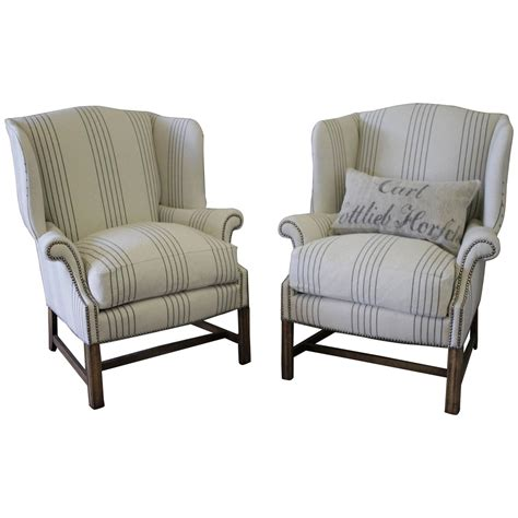 french linen armchair pair of french linen wingback chairs at 1stdibs