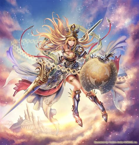 anime fantasy sky warrior pretty beautiful long hair