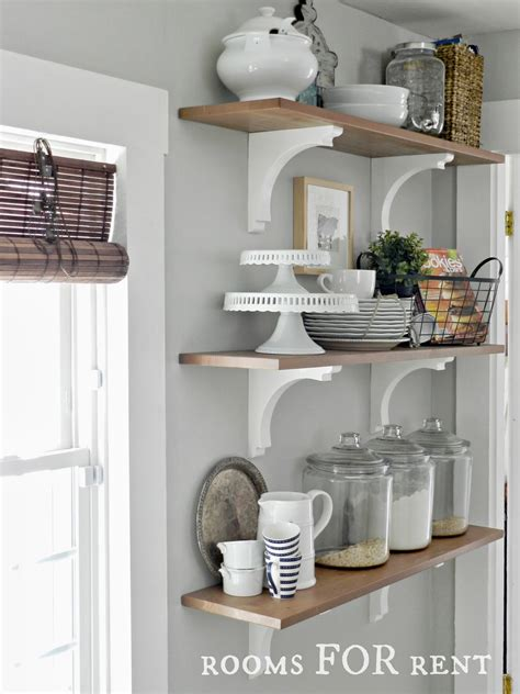 open shelves in the kitchen grey owl paint on the walls