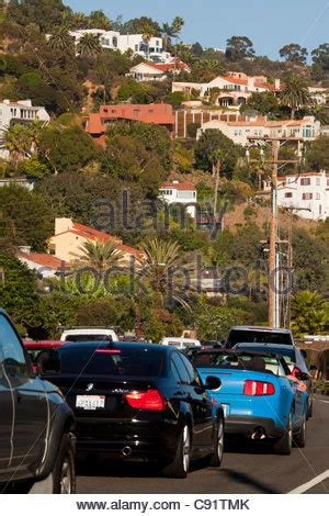 Pch Malibu Road Conditions - traffic on pacific coast highway at night in santa monica stock photo royalty free