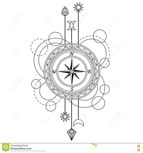 geometric compass pattern stock vector illustration