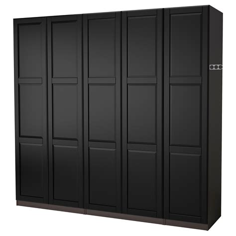 Black Wardrobe by Pax Wardrobe Black Brown Undredal Black 250x60x201 Cm