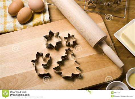 christmas cookie cutters baking ingredients stock photo