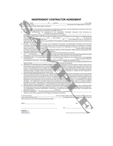 independent contractor agreement sle template free printable independent contractor agreement form