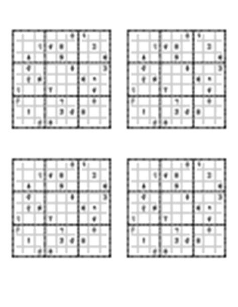 sudoku printable medium 4 per page sudoku printables
