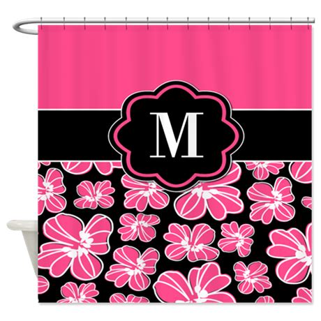 Pink And Black Shower Curtain by Pink Black Floral Monogram Shower Curtain By