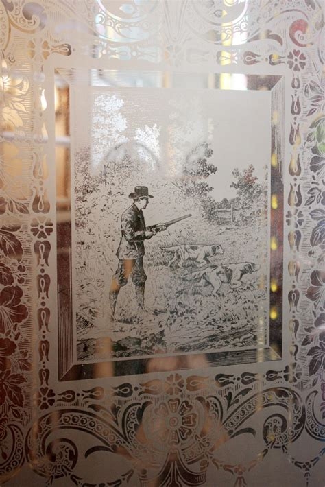 Antique Etched Glass Doors Antique Door With Figural Etched Glass With Dogs C 1890 S Ned24 For Sale