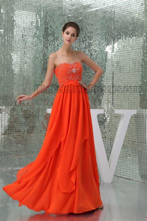 orange beaded dress orange beaded sweetheart prom gown evening formal dress
