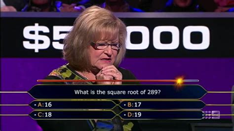 Square Root Of 289 by Who Wants To Be A Millionaire Seat Aus What Is The