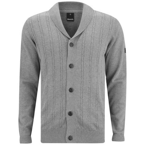 bench cardigan bench men s klunk cable knitted cardigan grey marl mens clothing zavvi com
