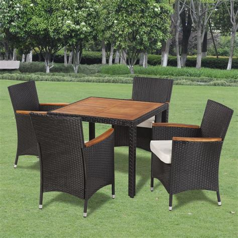 Rattan Dining Table And Chairs Vidaxl Poly Rattan Garden Dining Set With 4 Chairs And Table With Wood Top Vidaxl