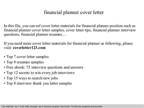 financial planning cover letter financial planner cover letter
