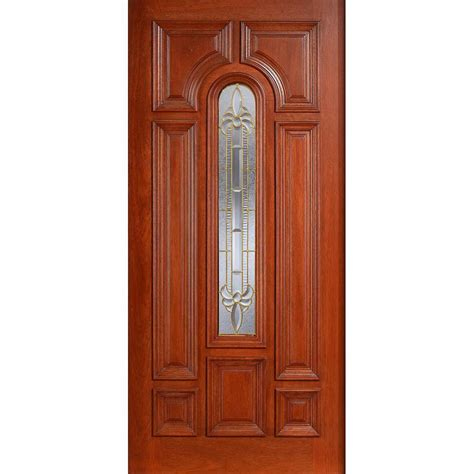 Cherry Wood Front Door Door 36 In X 80 In Mahogany Type Prefinished Cherry Beveled Brass Arch Glass Solid Wood