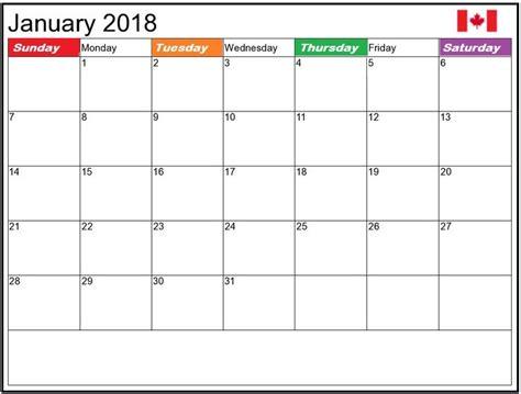 2018 Calendar Canadian Holidays January 2018 Canada Holidays Calendar Calendar 2018
