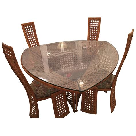 Rattan Dining Table And Chairs Danny Ho Fong Dining Table Set And Four Side Chairs Rattan Wicker Vintage Bamboo For Sale At 1stdibs