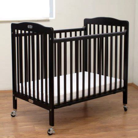 La Baby 3 Compact Crib Mattress La Baby Compact Wood Folding Crib With 3 In Mattress Cherry Walmart