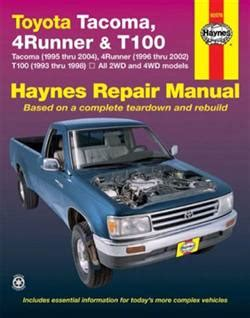 best car repair manuals 1997 toyota t100 user handbook haynes repair manual 95 04 tacoma 4runner t100