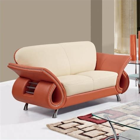 179 67 Set Orange global furniture 559 leather loveseat in beige orange