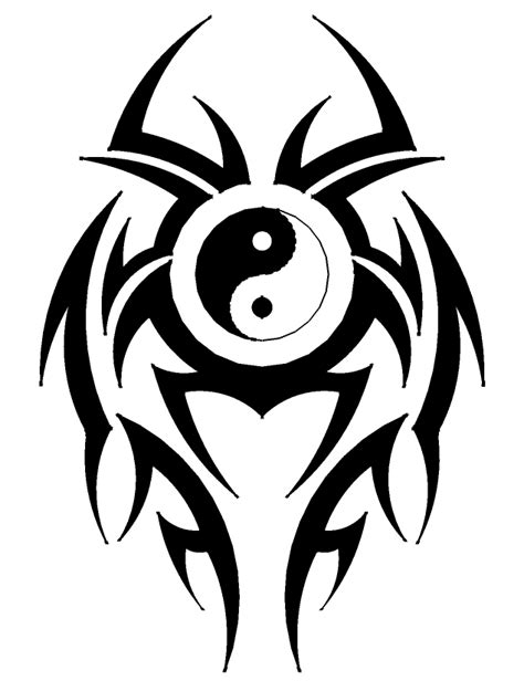 yin yang symbol tattoo design black tribal and yin yang symbol design
