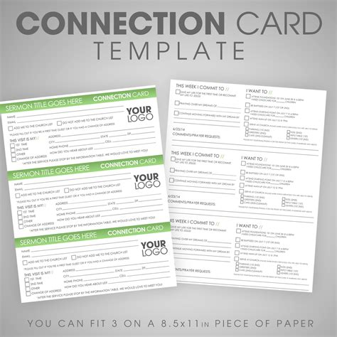 church response card template connection card template ministry marketplace
