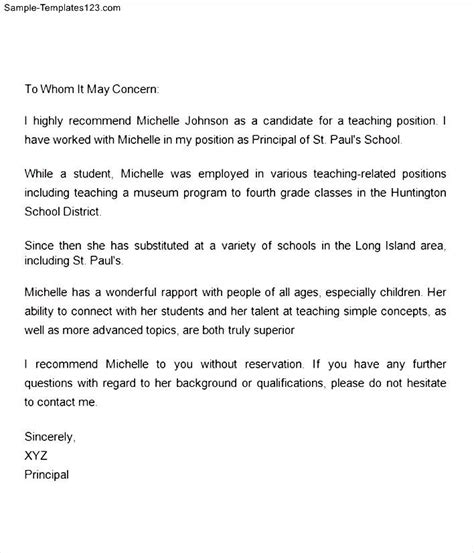 letter of recommendation for teaching position of a school sle templates