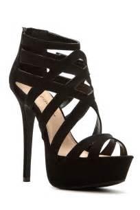 black faux suede cross strap platform heels cicihot heel