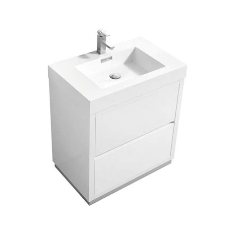 Free Standing Vanity Bliss 30 Quot High Gloss White Free Standing Modern Bathroom Vanity