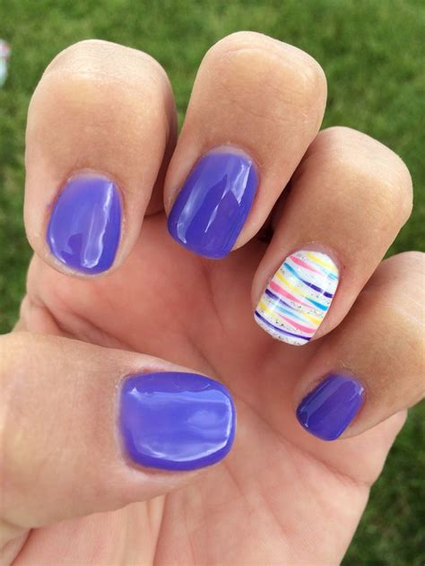 awesome purple striped summer gel nails summer gel