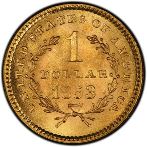1853 liberty head gold 1 coin values and prices past sales coinvalues com
