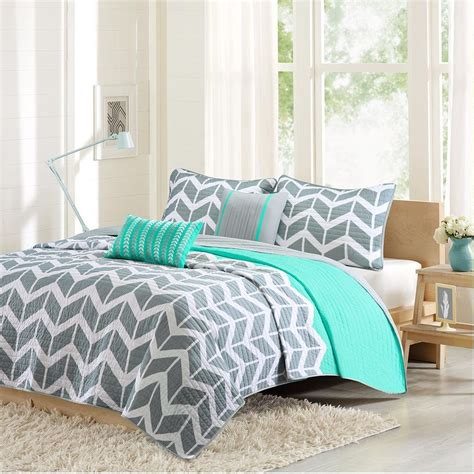 What Is A Coverlet Teal by Modern Grey Teal Blue Aqua Chevron Stripe Quilt Coverlet