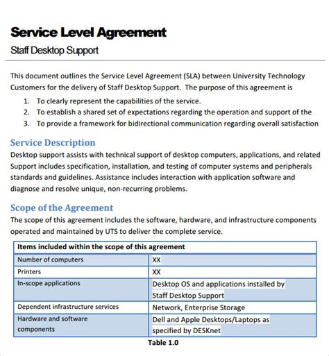 shared services service level agreement template sle service agreement template 6 free documents