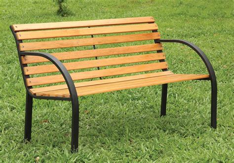 natural wood bench outdoor dumas smooth curved wood outdoor park garden patio bench