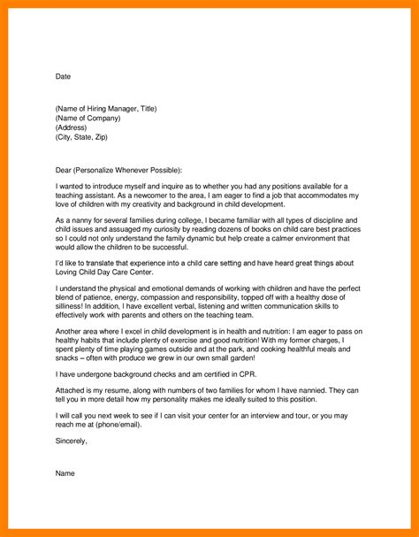 daycare cover letter 28 images child care nanny cover