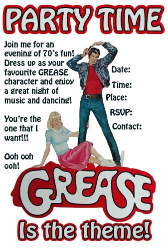 Grease Themed Party Help Australian Capital Territory Essential Kids Idees Pinterest Grease Invitation Template