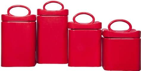 red ceramic canisters for the kitchen durable set of four 4 square red ceramic canisters with