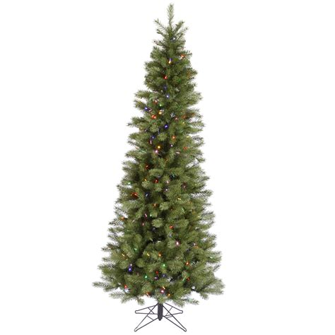 pre lit multi color led slim christmas tree 5 5 ft slim pencil spruce multi color lights tree pre lit lighted as ebay