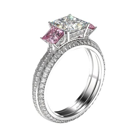 Pink Sapphire Engagement Rings by Three Princess And Pink Sapphire Engagement Ring