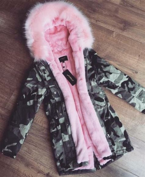 coat pink jacket camouflage camouflage fluffy adidas boots with fur pretty green