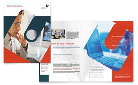 software brochure templates computer software company brochure template word publisher